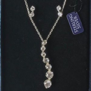 STERLING SILVER CZ NECKLACE AND EARRING SET IN GB